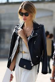 street style leather moto jacket over the shoulders