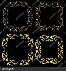 gold scroll frames stock vector