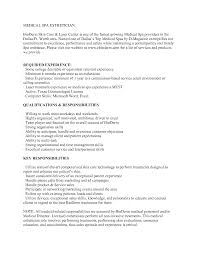 Fascinating Medical Spa Esthetician Resume Also Medical Esthetician