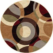 glamorous round area rugs polypropylene material geometric pattern brown red and gray color furniture small circular floor mats large for dining room rug