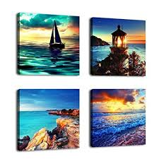 canvas wall art ocean sunset beach painting 12 quot x 12 quot x 4 pieces blue on amazon beach canvas wall art with amazon canvas wall art ocean sunset beach painting 12 x 12 x