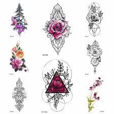 Diy Rose Flower Watercolor Tattoo Women Temporary Tattoo Stickers Leaf Flora Girl Lace Waterproof Tatoos Triangle Body Art