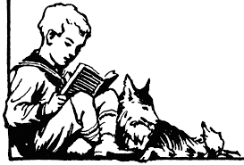 reading to dog drawing young boy sitting with dog reading read aloud books reading