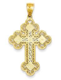 greek key cross pendant for men 14k gold