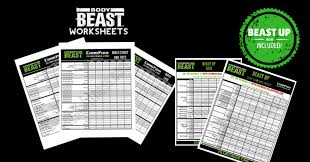 printable pdf body beast workout sheets to track your body beast workouts these are much easier to use than the original body beast workout sheets