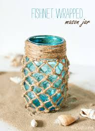 fishnet wrapped mason jar beach decor ideas