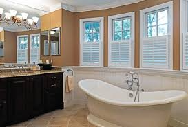 traditional bathroom lighting ideas white free standin. Bathroom: Likeable Fetching Light Brown Wall Painting Paired With White French Window Style Over Freestanding Traditional Bathroom Lighting Ideas Free Standin D