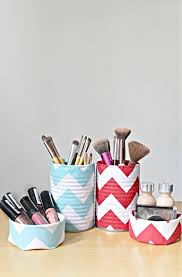 fabric covered makeup storage containers