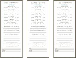 Restaurant Survey Cards Restaurant Comment Card Template Save Template
