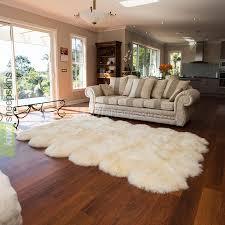 12 pelt natural shape sheepskin rug in natural ivory white color