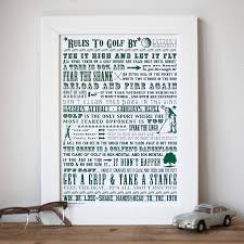 sku155 01 rules to golf by on golf wall art uk with golf gifts award winning original designs