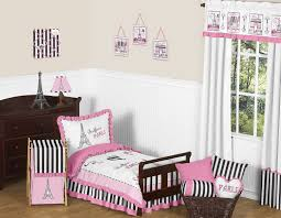 french pink black eiffel tower paris toddler girl bedding 5pc bed in a bag comforter set