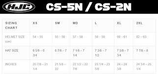 Hjc Cs 5n 2n Helmet Size Chart