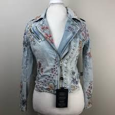 blanknyc embroidered embellished denim moto jacket larger image