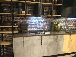 Rustic Kitchen Shelving Exposed Brick Backsplash Black Vent Hood Gray Wooden Rustic