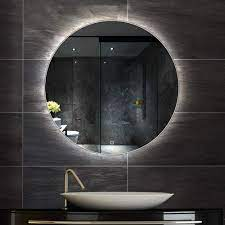Amazon Com Bathroom Mirror Led Illuminated Round Lighted Vanity Makeup Wall Mounted Lights Cosmetic With Touch Switch Demister Pad Home Kitchen