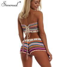 Simenual Rainbow <b>Striped</b> Crochet Set Women <b>Summer</b> Swimwear ...