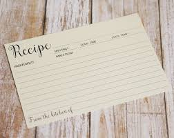 Cream Double Sided Recipe Card Wedding Kitchen Shower Gift Simple Lined Index Card Style Size 4x6