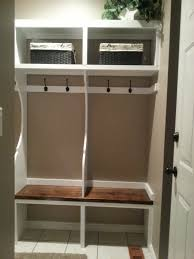 Small Mudroom Cubby Design Made From Wood With Bench Seat And Rattan Basket  Storage For Narrow Entryway Spaces Ideas