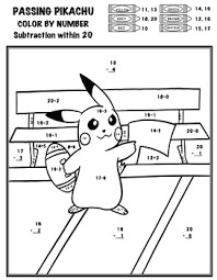 Give your kids something fun and free to do when they're bored when you use these pokemon color by number printable worksheets. Pokemon Color By Number Add Subtract Multiply Divide Passing Pikachu