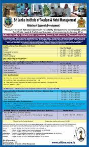 sri lanka institute of tourism hotel management certificates  sri lanka institute of tourism hotel management certificates diploma s and national diploma programmes in