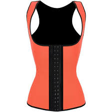3 hook workout faja shapeware latex rubber waist bustier corset orange hp1314