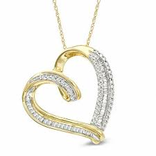 t w baguette and round diamond tilted heart pendant in 10k gold