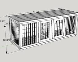 How to make a dog crate Furniture Plans To Build Your Own Wooden Double Dog Kennel Size Large Etsy Dog Crate Furniture Etsy