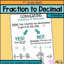 Fractions And Decimals Anchor Chart Worksheets Teaching