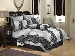 black white silver scroll king size bedding set with black white blackout window curtains and dark