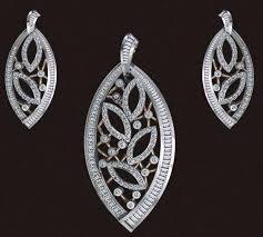studded white gold pendant set