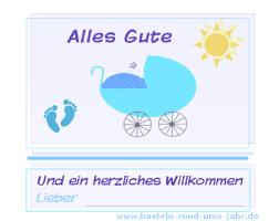 Karte Zur Geburt Junge Geburtstagskarte Mit Spruch Basteln Rund