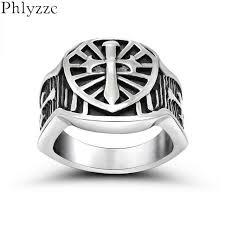 cool snless steel armor shield ring knight templar crusade cross sword jewelry meval signet mens rings r624