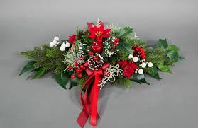 Weihnachtsliches Tischgesteck Länglich Rot Kunstblumen