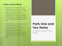 parts one and two notes sir gawain and the green knight students  parts one and two notes sir gawain and the green knight students the following