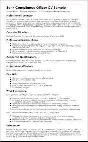 Compliance Officer Sample Resume Inspiration Sample Bank Compliance Officer Example Cv Mysticskingdom