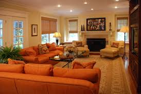 burnt orange sofa Living Room Contemporary with burnt orange couch