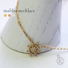 k18 malibu necklace ship rudder motif in a fresh wind chest steering wheel diamond necklaces necklaces necklace diamond 18 k 18 gold grain diamond