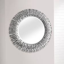 detailed chrome silver round wall mirror