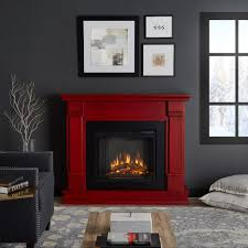 freestanding electric fireplace in rustic red