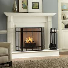 Interior:Impressive Glass Fireplace Ideas For Home Interior Design With  Blue Wall Paint And Grey