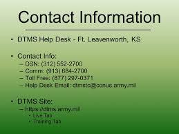 contact information dtms help desk ft leavenworth ks contact info dsn