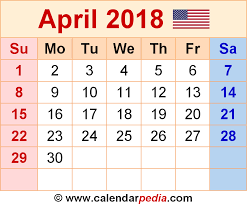 april calendar april 2018 calendars for word excel pdf
