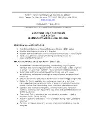 Custodian Resume Custodian Resume It Cover Letter Sample Elementaryol Objective 21
