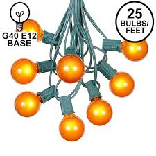 Outdoor Novelty Lights 25 G40 Globe String Light Set With Orange Satin Bulbs On Green Wire