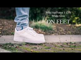 nike air force 1 lv8 white croc on feet sneaker review air force crocodile white
