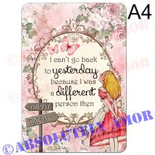 Alice In Wonderland A4 Quote Print For Mad Hatters Tea Party Prop Homegift Pka Ebay
