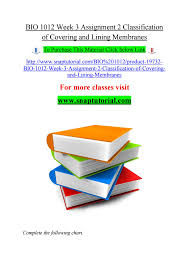 Classification Of Covering And Lining Membranes Complete The Following Chart Bio 1012 Week 3 Assignment 2 Classification Of Covering And