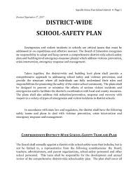 Security, Health, And Safety / Districtwide School Safety Plan