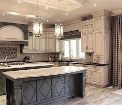 White Kitchen Cabinets With Black Countertops Gorgeous Dark Grey Island With White Countertop And Antique White Cabinets